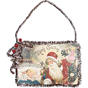 Victorian Father Christmas - Santa Claus - Decoration - Tinsel Edged - German