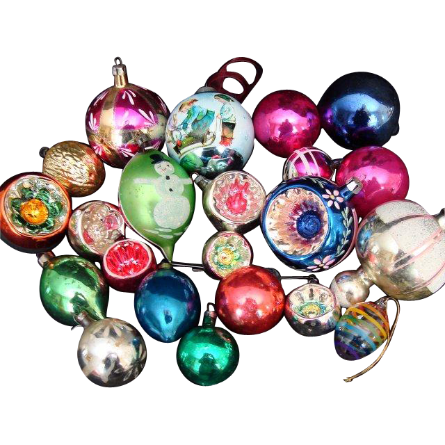 Traditional Glass Christmas Tree Ornaments : Assorted vintage traditional glass christmas tree