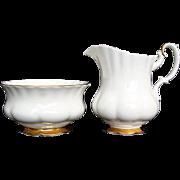 "Milk/Creamer and Open Sugar - ""Val D'or"" - Royal Albert - Vintage"