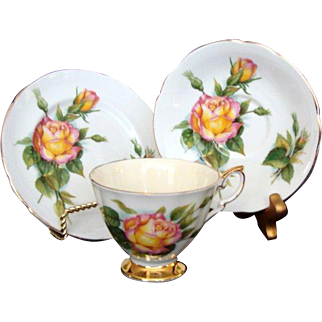 "Vintage Paragon Trio - ""Peace"" - Six World Famous Roses Series - Harry Wheatcroft"