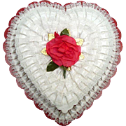Vintage Heart Shaped Candy Box - Roses Satin and Lace