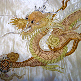 Antique Chinese Silk Embroidered Panel - Two Dragons