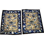 Pair Antique Silk on Silk Chinese Embroidery Panels