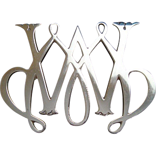 Vintage Virginnia Metal Crafters - Colonial Williamsburg - Trivet - William & Mary Cypher