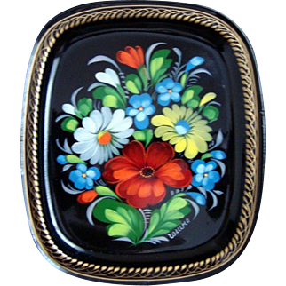Vintage Small Hand Painted Russian Lacquer Tole Tray - Signed