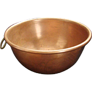 Large Vintage Solid Copper Mixing Bowl