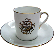 "Vintage Royal Tuscan Horoscope ""Scorpio"" Demi Tasse and Saucer"