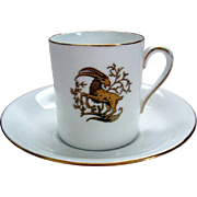 "Vintage ""Capricorn"" Horoscope Demi Tasse / Coffee Can and Saucer - Royal Tuscan"