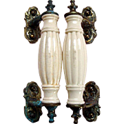Antique Victorian Pair of Door Pulls / Handles - Metal and Ceramic