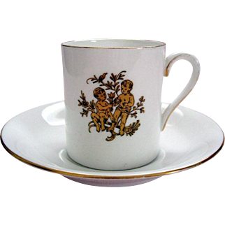 "Vintage Royal Tuscan ""Gemini"" Demi Tasse / Coffee Can and Saucer - Horoscope Series"