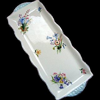 """Shelley """"Wild Flowers""""  Handled Sandwich Plate - (1945 - 1966)"""