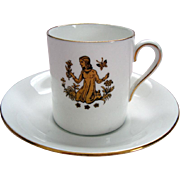"""Vintage """"Virgo"""" Royal Tuscan Demi Tasse / Coffee Can and Saucer - """"Horoscope"""" Series"""
