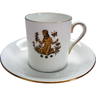"Vintage ""Virgo"" Royal Tuscan Demi Tasse / Coffee Can and Saucer - ""Horoscope"" Series"