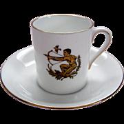 "Vintage ""Sagittarius"" Demi Tasse / Coffee Can and Saucer - Royal Tuscan - ""Horoscope"" Series"