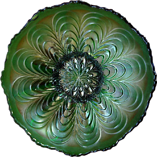 Fenton Carnival Glass Peacock Tail Bowl - Green
