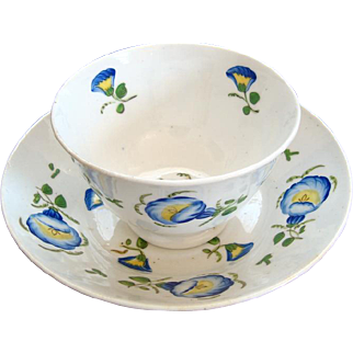 Footed Tea Bowl and Saucer - Hand Painted - Early 19th Century - English