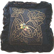 Black Taffeta Metallic Embroidered Net Bejewelled Pillow/Cushion