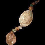 Decorated Goose Egg III Alencon Lace Vintage Crystal Finial