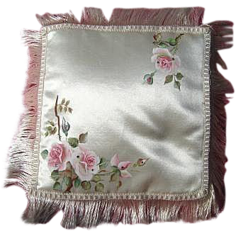 Silk Pillow/Cushion Hand Painted Roses - early 20th Century