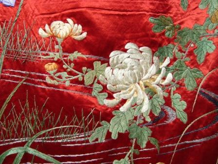 Stunning Pair Of Antique Japanese Silk Panels C1800s Hand Embroidery From Bellarosa On Ruby Lane