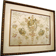 Framed 19th Century French Silk, Ribbon Work and Metallic Thread Embroidery Panel
