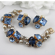 Blue Rhinestone & Faux Baroque Pearl Bracelet and Earring Set
