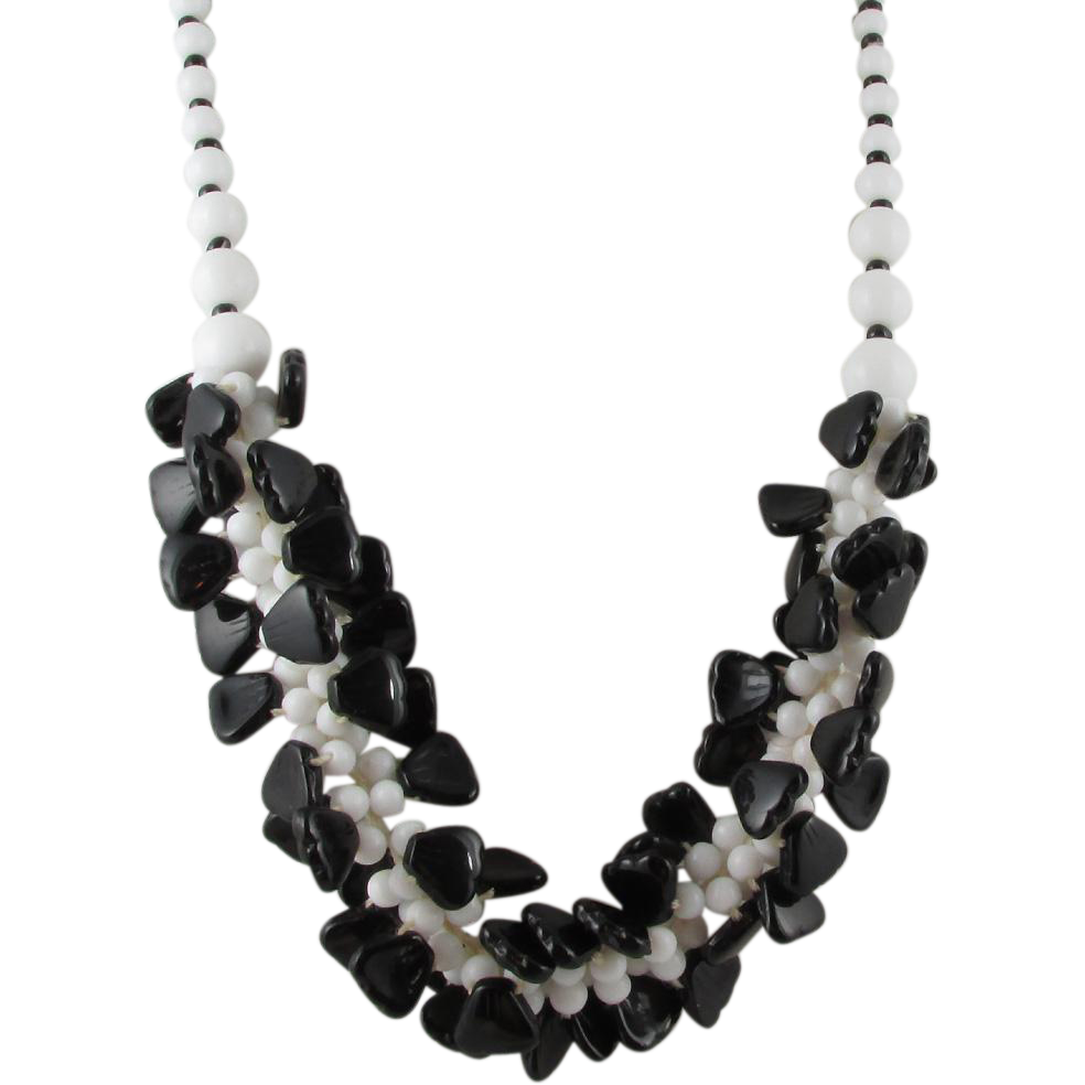 black white glass necklace from belleglace on ruby