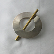Modernist Mixed Metals Brooch - Taxco Sterling & Brass