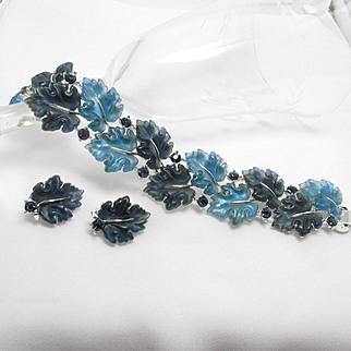 LISNER Oak Leaf Set ~ Blue Moonglow Thermoset Plastic ~ Vintage Bracelet & Earrings