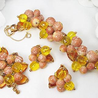 JULIANA PARURE, givre pears, unique beads ~ bracelet, brooch, earrings ~ cha cha cha
