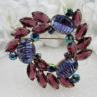 Large Art Glass Brooch ~ Reverse Carved ~ Purple Rhinestones ~ Vintage