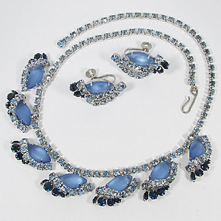 Frosted, Sapphire and Baby Blue Rhinestones ~ Vintage Necklace and Earrings Set