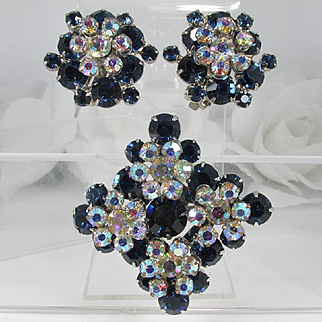 JULIANA Set - Tiered Brooch and Earrings ~ Sapphire Blue and Aurora Borealis Rhinestones