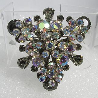 "JULIANA Brooch ~ ""Black Diamond"" Rhinestones ~ Large and Dimensional"