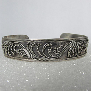 Raised Scroll and Beading Details ~ Sterling Cuff Bracelet ~ Vintage