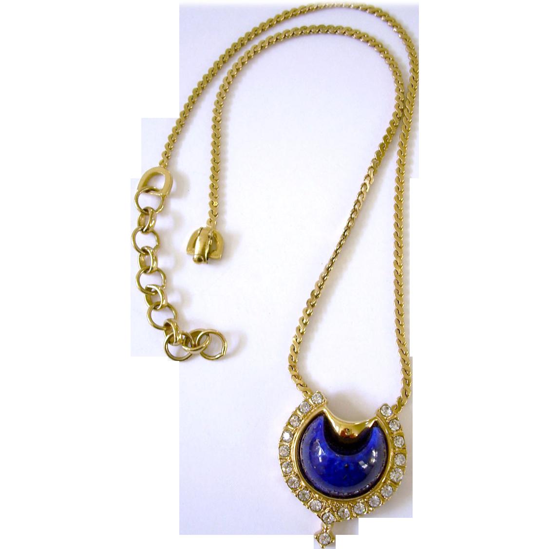 Bijoux Vintage Dior : Dior crescent blue moon necklace faux lapis with