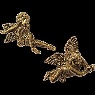 Pair of Playful Renaissance-Style 'Putti' Cherub Pins, with Aurora Borealis Crystals, Crosshatch Pattern