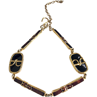 Rare Roberta di Camerino Logo & Belt Motif Enamel Necklace