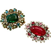 Holiday Bling! Pair of Glitzy Red & Green Floral Bouquet Brooches: Made in Austria