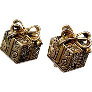 Whimsical Gift Box Earrings with Golden Ribbon Bows Marked Best