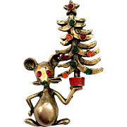 Mouse Holding Up a Christmas Tree Pin, Butler & Wilson Design