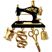 Whimsical Sewing Machine & Kit Brooch by Danecraft: Black Enamel & Goldtone