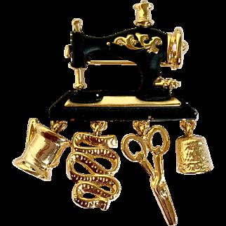 Whimsical Sewing Machine & Kit Brooch by Danecraft: Black Enamel & Goldtone