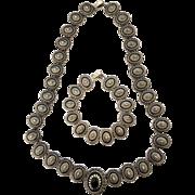 Regal Renaissance Revival Shield or Medallion Necklace & Bracelet Set: Embossed & Black Enamel