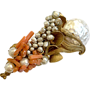 Haskell Baroque Pearl and Coral Branches Brooch, 1950s