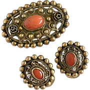 Etruscan-Style 'Cannetille' Brooch And Earrings Set: Pre-1934 800 Silver Vermeil & Coral, Firenze