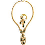 Kramer of New York 'Golden Look' Faux Emerald & Diamonds Necklace, Brooch Set: Book Pc.  Ask a question