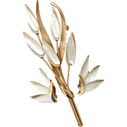 Kramer of New York Pearlized and Gilt Wheat Brooch & Earrings Set