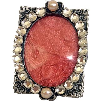 Vintage Pewter Mini Picture Frame, with Rhinestones, Faux Pearl