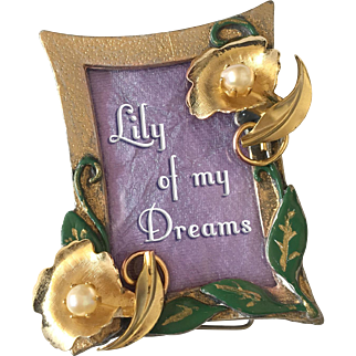 Elegant Embellished Pewter Mini-Picture Frame, with Golden Lilies, Enamel Leaves